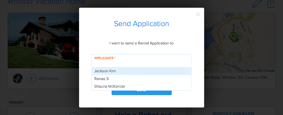 choose applicant to send rental application