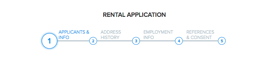 online rental application form in Pendo sections applicant information address history employment info references