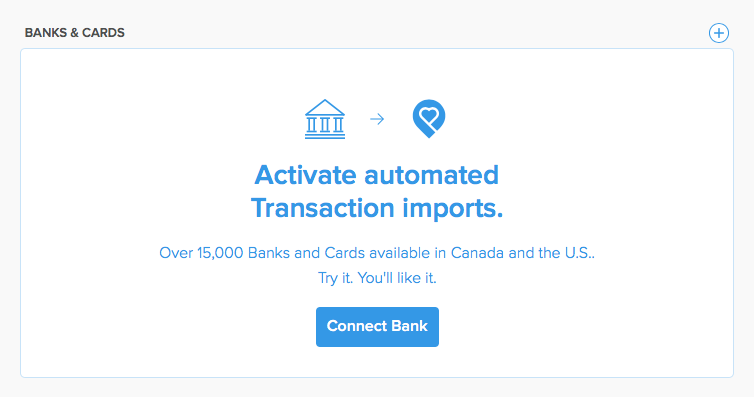 Connect Bank for automated imports of Income & Expenses