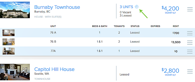 list expanded view properties and units in Pendo
