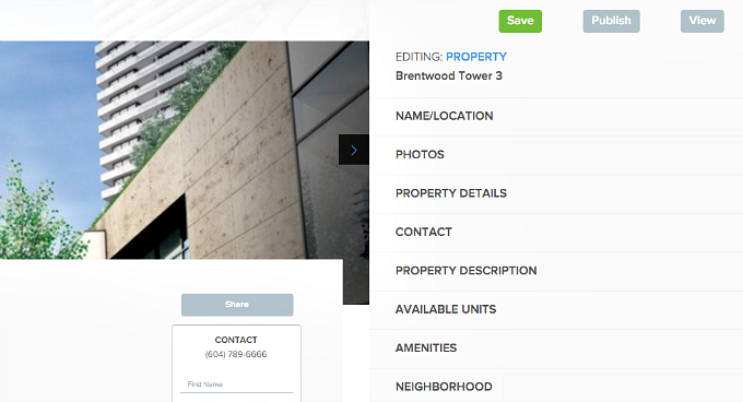 Edit property listing website required fields