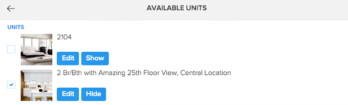 edit available units in rental listing website