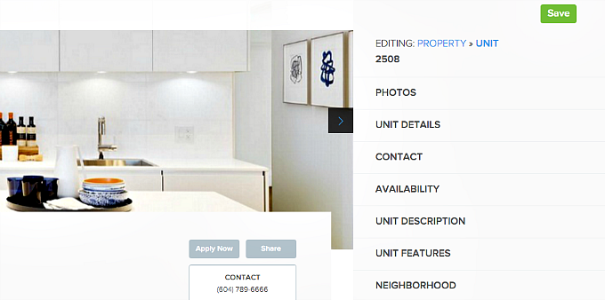edit unit details rental listing website