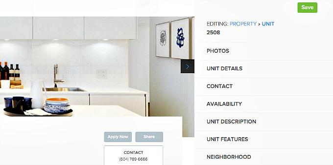 edit unit details rental listing website