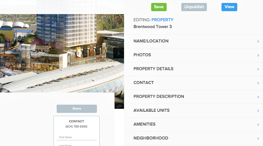 edit property details in Pendo's rental listing website
