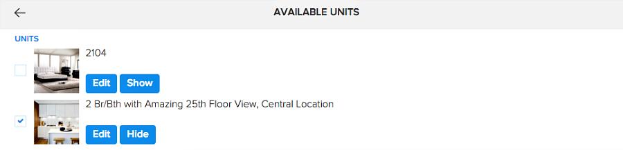 Edit individual Units in Pendo's rental listing website builder