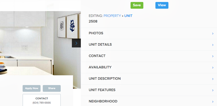 edit unit details in Pendo's rental listing website builder