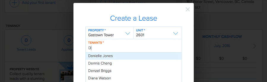 typeahead in leases and rental applications Pendo
