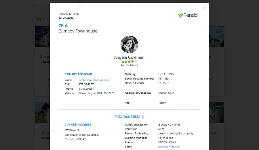 view tenant rental application from People page