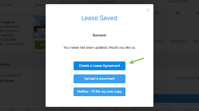 create a digital lease agreement in Pendo