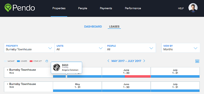 Pendo hover lease timelines monthly rent amount
